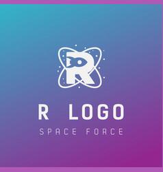 R initial space force logo design galaxy rocket vector