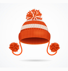 Realistic 3d detailed red knitted hat vector