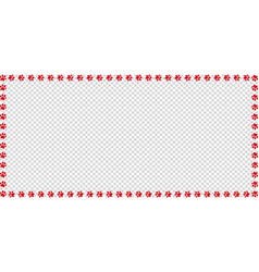 Rectangle frame made of red animal paw prints vector