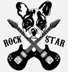 rock star hand drawn bulldog vector image