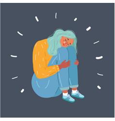 Sad teenager girl depressive expression vector