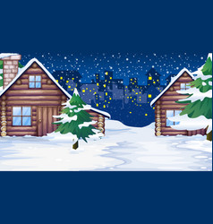 Scene with houses in snow vector