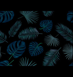 seamless hand drawn pattern with green palm vector image
