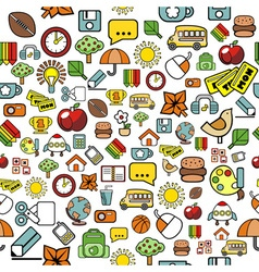 Seamless pattern with elementary school elements vector