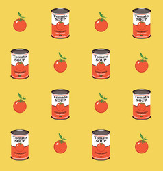 Seamless pattern with tomatoe and tomato soup can vector
