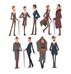 self confident victorian gentlemen characters set vector image