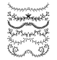 set floral hand drawn dividers on a white vector image