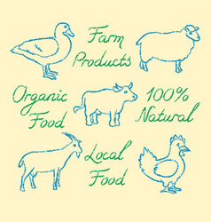 set hand drawn farm animals icons and lettering vector image