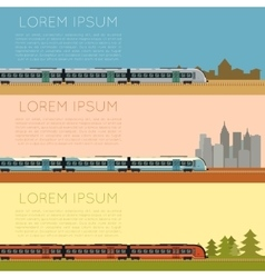 Set of commuter train banners vector image
