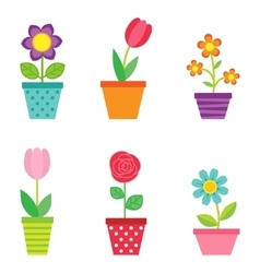 Set of flowers in pots vector