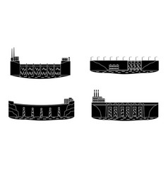 set of hydro power plant silhouette vector image