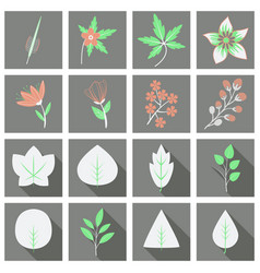 set of treesleaves and flowers in flat concepts vector image