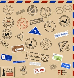 Set of various post seals brands coupons vector