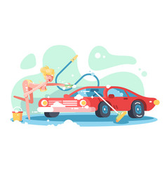 sexy girl washing red automobile vector image
