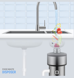 Sink with food waste disposer vector