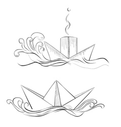 sketch of hand drawn ship vector image