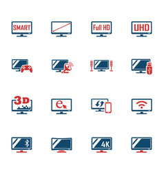 Smart tv icon set vector