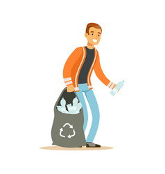 Smiling man gathering garbage and plastic bottles vector