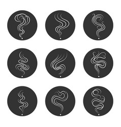 smoke smell icons in circles vector image
