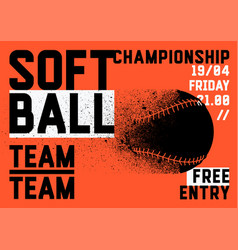 Softball championship typographical style poster vector