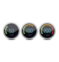 Temperature gauge digital set icon vector