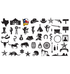 texas icons set vector image