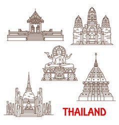 thailand samui temples architecture landmarks vector image