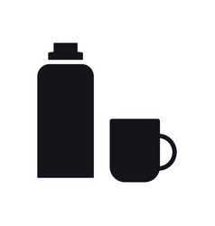 Thermos bottle icon vacuum flask hot water vector