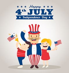 Uncle sam cartoon with kids happy 4th of july vector