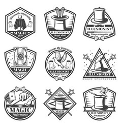 vintage monochrome magic show labels set vector image
