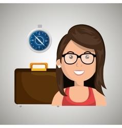 Woman suitcase travel location vector