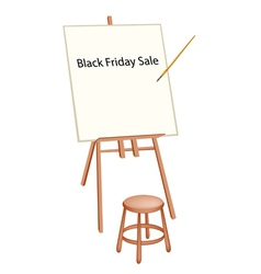 Wooden artist easel with word black friday sale vector