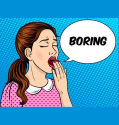 Yawning girl pop art style vector