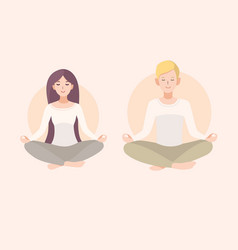 Young woman and man couple meditating with crossed vector