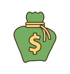 Cartoon money bag business finance vector