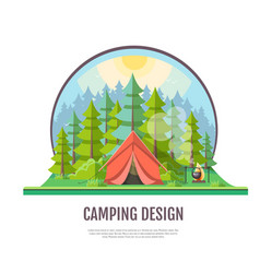flat style design of forest landscape and camping vector image vector image