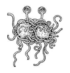 flying spaghetti monster engraving style vector image vector image