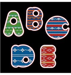 knitted alphabet - ABCDE vector image vector image