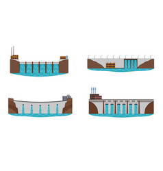 set of hydro power plant vector image vector image