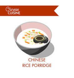 chinese rice porridge in bowl isolated on white vector image vector image