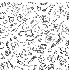 Doodle pattern of diet vector image