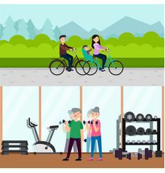 flat active recreation horizontal banners vector image vector image