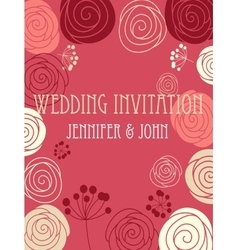 Wedding invitation card with floral elements vector image