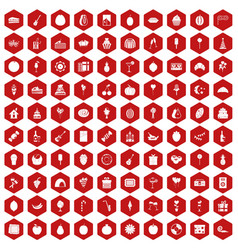 100 fruit party icons hexagon red vector image vector image