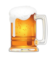 beer with bladder in glass mug on white vector image