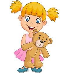 Cartoon little girl playing with teddy bear vector image vector image