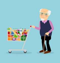 grandfather with shopping cart with groceries vector image vector image