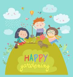 happy children gardening vector image