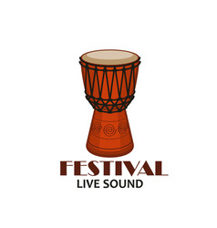 music concert or folk festival symbol with drum vector image vector image