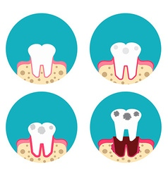 Periodontal disease icons set vector